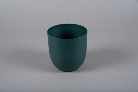 A004JY Green metal planter D12.5cm H13.5cm