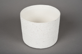 A004N8 Cache-pot en terre cuite blanc D12cm H10cm