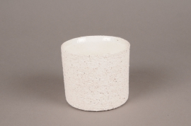 A004N8 White terracotta planter D12cm H10cm