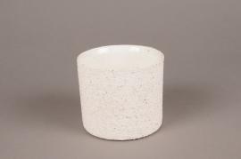 A004N8 White terracotta planter D12cm H10cm