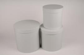 A004O1 Set de 3 boîtes en carton gris D28cm H28cm