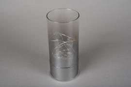 A004O7 Cylindre en verre fumé led D9cm H20cm