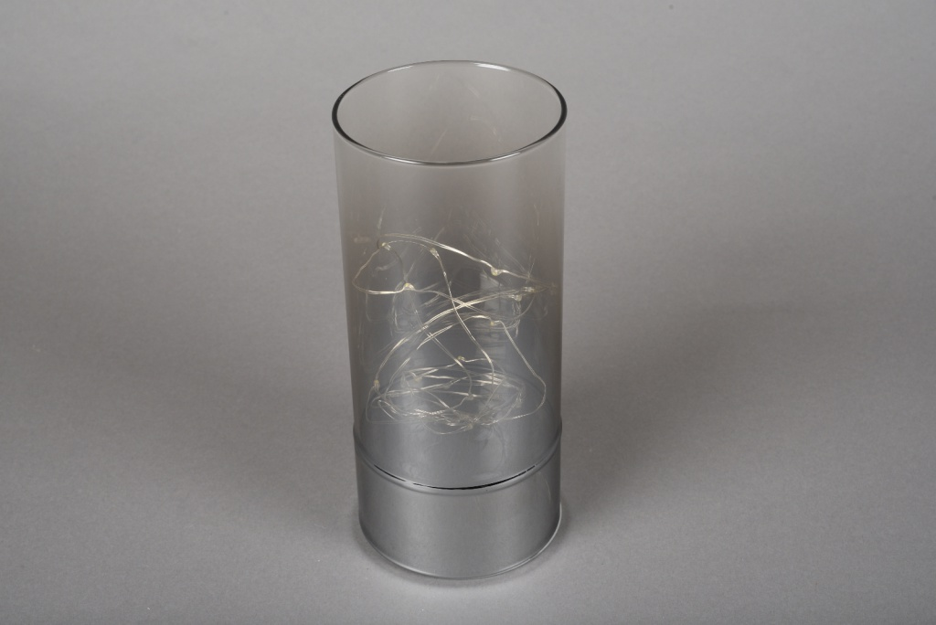 A004O7 Smoked glass cylinder led D9m H20cm