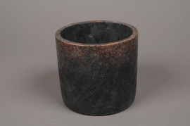 A004OZ Black ceramic planter D15cm H15.5cm