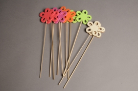 A004PH Pack of 10 picks of wooden flowern H30cm
