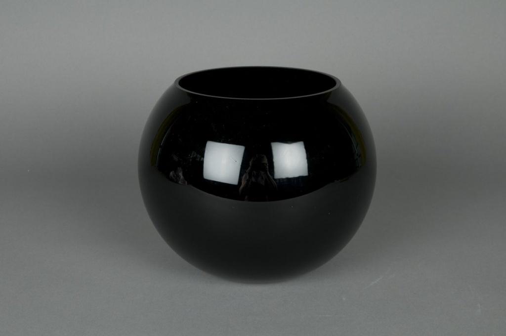 A004PS Glass ball vase black D14,5 H12,5cm