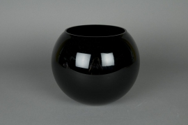 A004PS Glass ball vase black D14,5 H12,5cm
