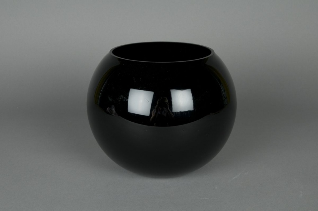 A004PS Vase en verre boule noir D14,5 H12,5cm