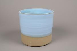 A004Q0 Cache-pot en céramique bleu D28cm H31cm