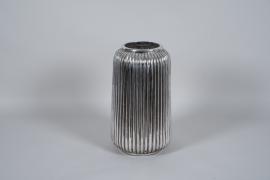 A004QL Vase en céramique argent D29cm H49cm
