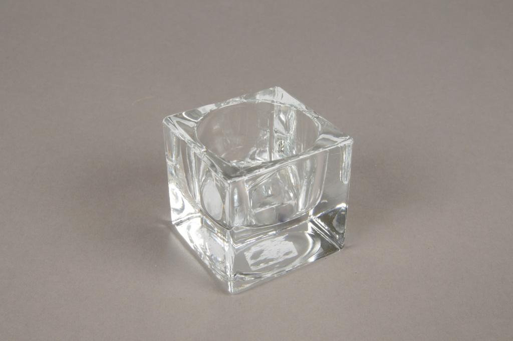A004SH Bougeoir en verre 5x5cm H5cm
