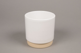 A004T3 White ceramic planter pot D13cm H13cm
