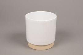 A004T3 Cache-pot en céramique blanc D13cm H13cm