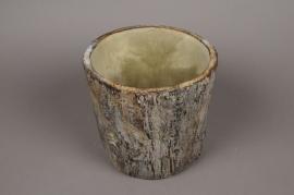 A004U0 Cache-pot céramique tronc D18cm H19.5cm