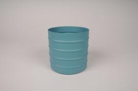 A004U9 Blue metal planter D12cm H12cm