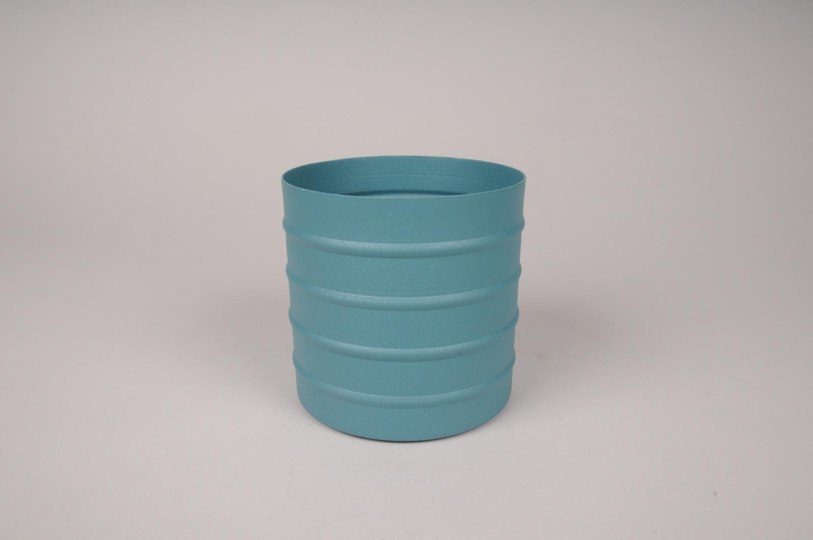 A004U9 Cache-pot en métal bleu D12cm H12cm