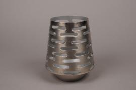 A004W0 Photophore métal argent H21cm