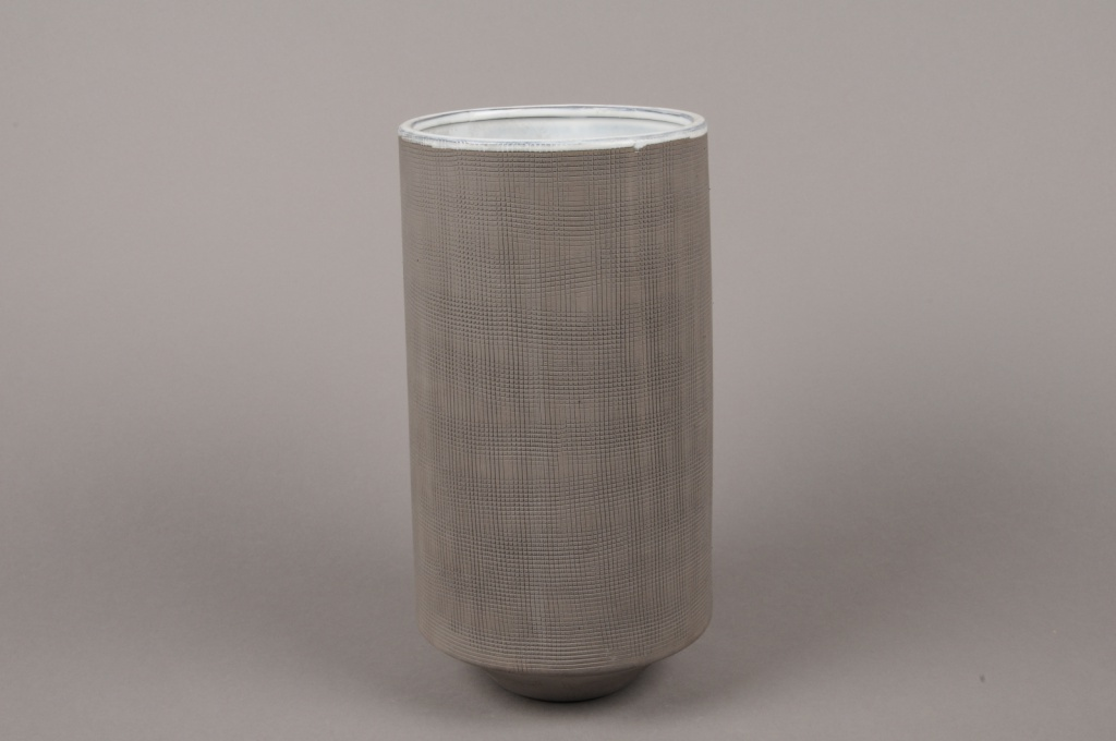 A004W5 Vase en grès gris D13.5cm H27cm