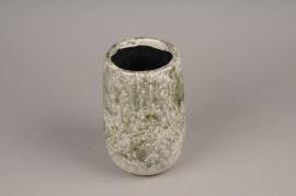 A004W6 Vase en céramique vert D14cm H20cm