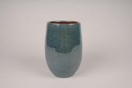 A004XD Vase céramique bleu D14cm H20.5cm