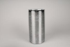 A005A3 Vase verre argent D16cm H31cm