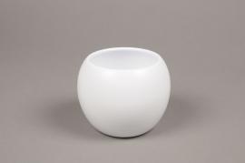 A005A8 White bowl ceramic planter D9cm H10cm