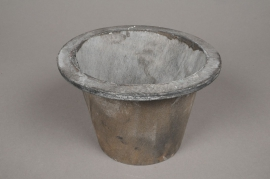 A005AV Grey wooden pot D12.5cm H10.5cm