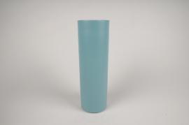 A005CC Vase en métal cylindre bleu D9cm H30cm