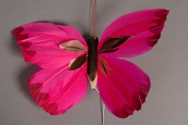 A005E9 Boîte de 12 pics papillons fuchsia 18cm