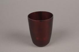 A005G2 Photophore en verre rouge D7cm H9.5cm
