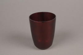 A005G2 Red glass candle jar D7cm H9.5cm