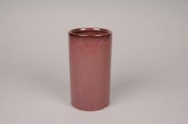 A005J6 Vase en céramique rouge D9.5cm H18cm