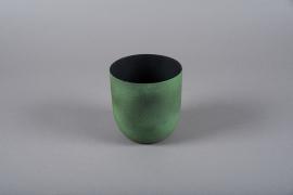 A005JY Green metal planter D12.5cm H13.5cm