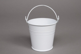 A005KM Seau en zinc blanc D6cm H5,5cm