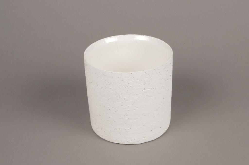 A005N8 Cache-pot en terre cuite blanc D13cm H13cm