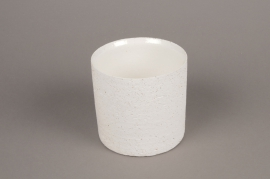 A005N8 White terracotta planter D13cm H13cm