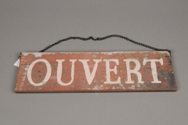 A005N9 Wood panel printed OUVERT / FERME 40x12cm