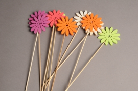 A005PH Pack of 10 picks of wooden flowern H30cm
