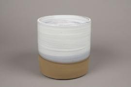 A005Q0 Cache-pot en céramique blanc D28cm H31cm