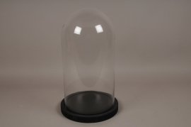 A005T0 Glass bell with wooden tray D29cm H41cm
