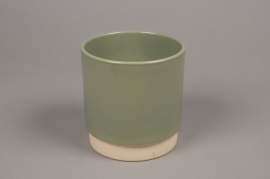 A005T3 Green ceramic planter pot D13cm H13cm