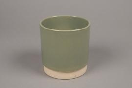 A005T3 Cache-pot en céramique kaki D13cm H13cm