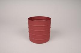 A005U9 Cache-pot en métal rouge D12cm H12cm