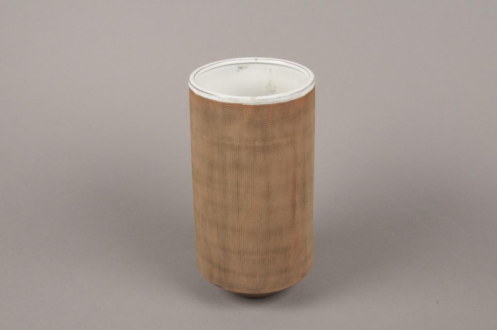 A005W5 Vase en grès taupe D13.5cm H27cm