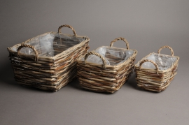 A0063CB Set of 3 square wicker baskets gray 27x20cm H16cm