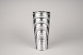 A006A3 Vase verre argent D14cm H30cm