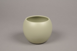 A006A8 Green bowl ceramic planter D9cm H10cm