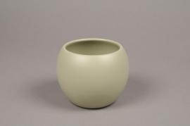 A006A8 Cache-pot céramique boule kaki D9cm H10cm