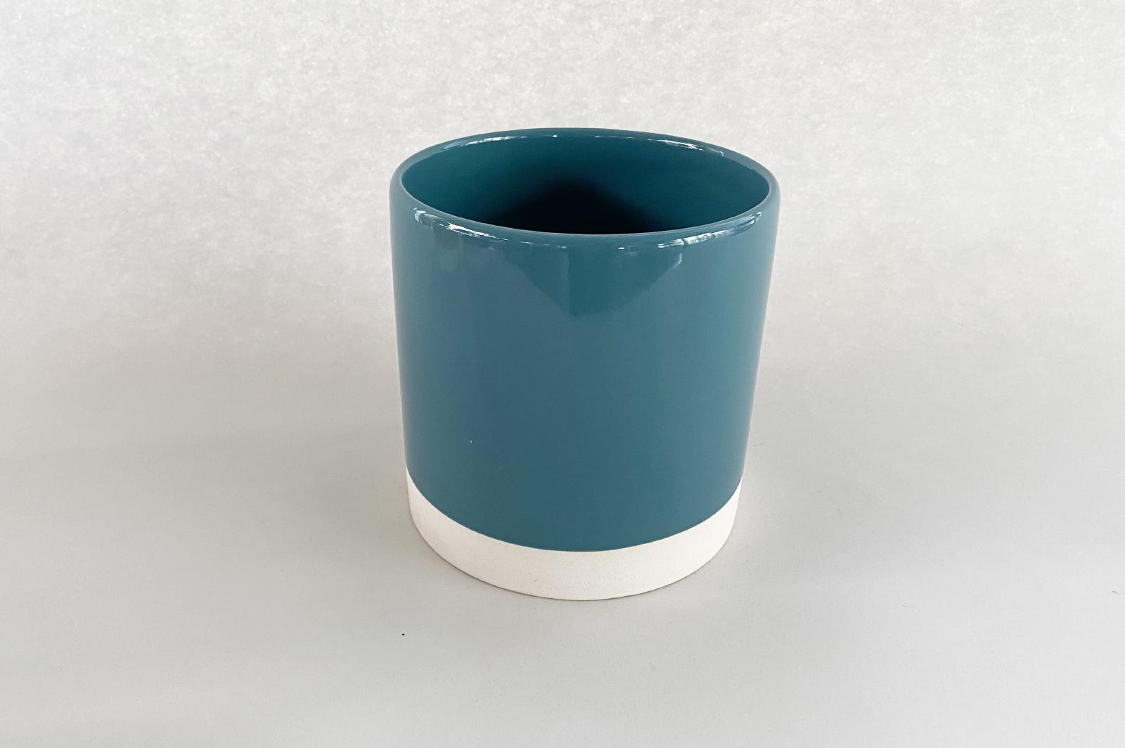 A006AA Cache-pot en céramique bleu D11cm H11.5cm
