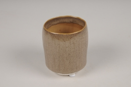 A006BJ Brown ceramic planter pot D7cm H9cm